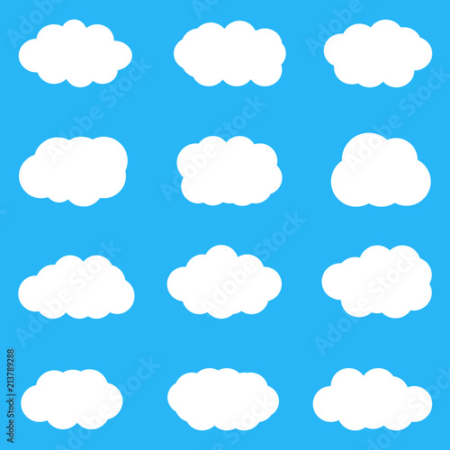 Poster Ciel Set of cute white clouds on blue background. Vector, eps10