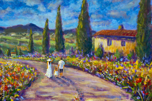 Fényképezés  Impressionism art painting happy family in white clothes walking along road
