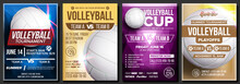 Volleyball Poster Set Vector. ...
