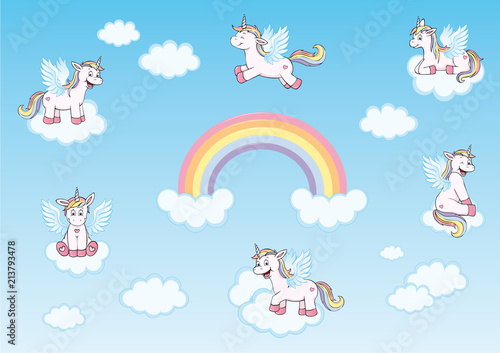 Cute Unicorns With Wings Rainbow And Clouds In Heaven Collection
