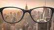 Leinwanddruck Bild - View through glasses sharp with glasses unsharp without glasses
