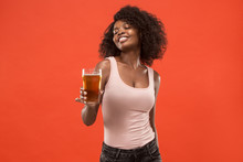 Sexy Young Afro Woman Drinking...