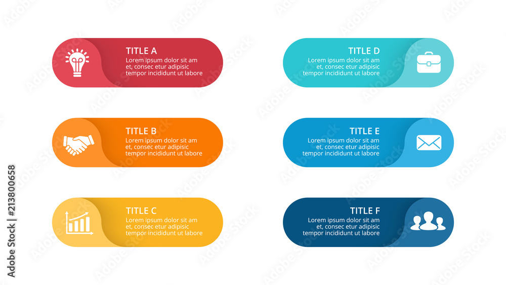 Fototapeta Vector circle arrows infographic, cycle diagram, labels graph, stickers presentation chart. Business concept with 6 options, parts, steps, processes. Slide template.