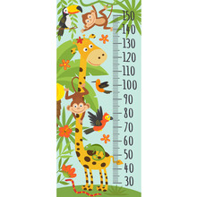 Growth Measure With Giraffe And Other Jungle Animals -  Vector Illustration, Eps