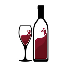 Wine Red Bottle Silhouette With Cup Vector Illustration Design