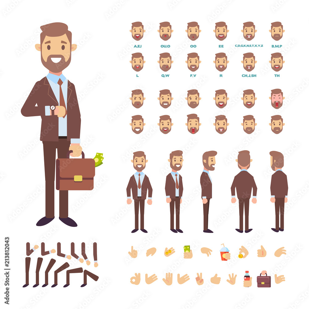 Fototapeta Front, side, back view animated male character. Business man creation set with various views, face emotions, poses and gestures. Cartoon flat vector illustration.