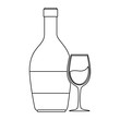 wine bottle silhouette with cup vector illustration design