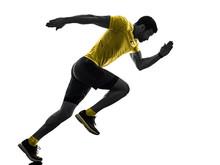 One Caucasian Man Runner Runni...