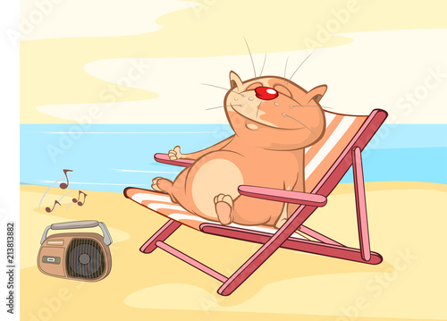 Illustration of a Cute Cat. Cat on Vacation. Cartoon Character