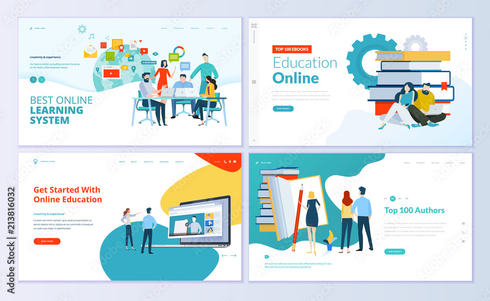 Fototapety, obrazy: Set of web page design templates for e-learning, online education, e-book. Modern vector illustration concepts for website and mobile website development.