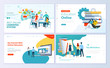 Set of web page design templates for e-learning, online education, e-book. Modern vector illustration concepts for website and mobile website development.