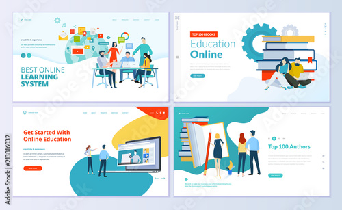set of web page design templates for e learning online education e