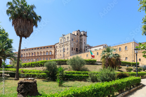 Fotobehang Palermo Palazzo dei Normanni (Palace of Normans) or Royal Palace of Palermo, seat of Kings of Sicily during Norman domination and served afterwards as main seat of power for subsequent rulers of Sicily