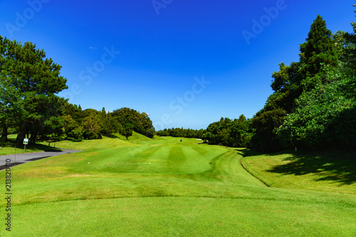 Foto op Plexiglas Donkerblauw landscape of japanese golf course in chiba (No1842)