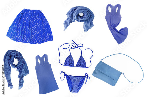 collage of fashionable blue female clothes and accessories isolated on white background Plakat