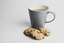 Blue Mug Coffee With Cookies
