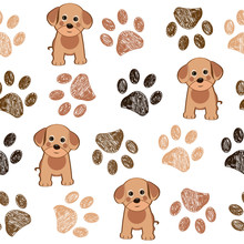 Cute Dog And Doodle Paw Prints...