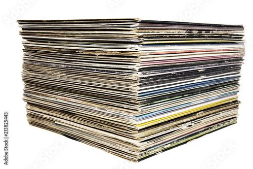 Fotografie, Obraz  Stacked vintage vinyl record albums.
