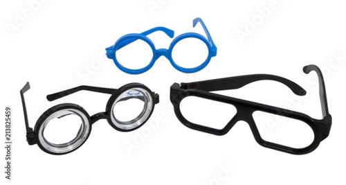 Photo Three pairs of goofy fun costume glasses.