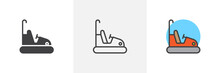 Bumper Cars Attraction Icon. Line, Solid And Filled Outline Colorful Version, Outline And Filled Vector Sign. Symbol, Logo Illustration. Different Style Icons Set. Pixel Perfect Vector Graphics