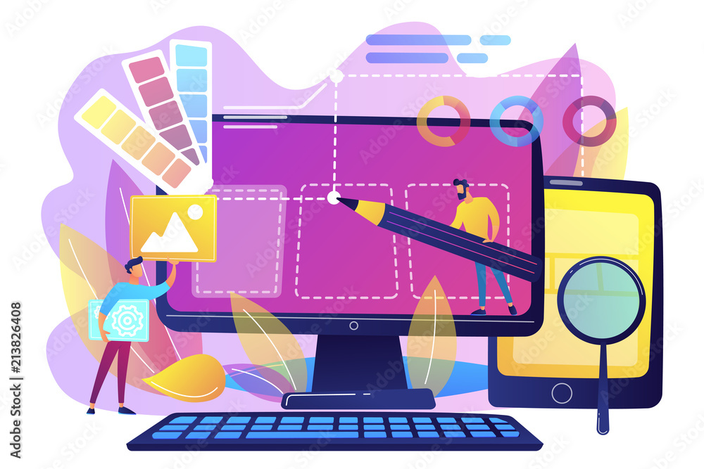 Fototapeta Designers are working on the desing of web page. Web design, User Interface UI and User Experience UX content organization. Web design development concept. Violet palette. Vector illustration