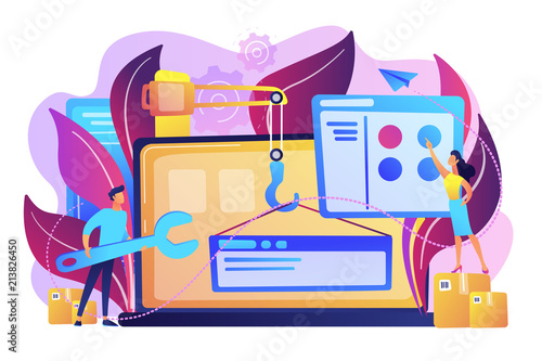 Fototapeta It professionals are creating web site on the laptop screen. Website development or web application, coding, designing for web browsers concept. Violet palette. Vector illustration on background obraz