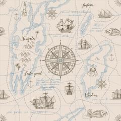 Vektorska apstraktna bešavna pozadina na temu putovanja, avanture i otkrića. Stara ručno nacrtana karta s vintage jedrilicama, ružom vjetrova, stazama, nautičkim simbolima i rukopisnim natpisima