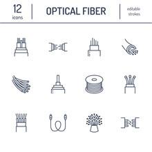 Optical Fiber Flat Line Icons....