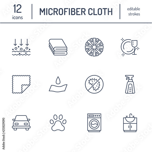 Photo Microfiber cloth properties flat line icons