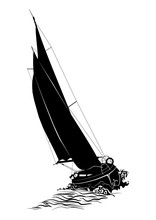 Sailing Boat. Silhouette Of A ...