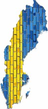 Map Of The Swedish With Flag Inside - Illustration, 