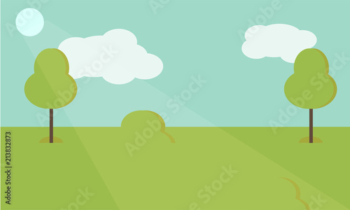 Tuinposter Lichtblauw Vector nature landscape background. Cute simple cartoon or flat style