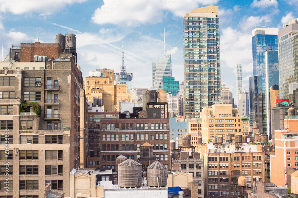 Fototapety, obrazy: New York City Manhattan cityscape of buildings at midtown on sunny day