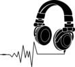 Kopfhörer mit Schallwellen