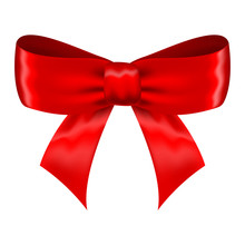 Red Silk Ribbon Bow