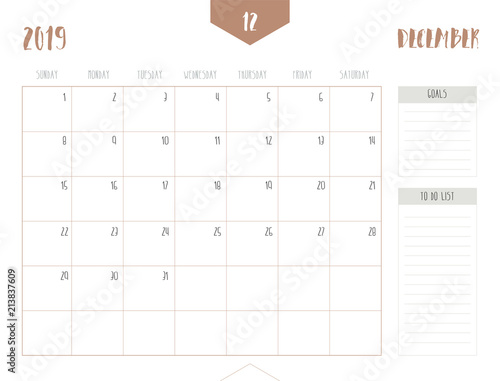 2019 December Calendar No Boxes Vector of calendar 2019 ( December ) in simple clean table style