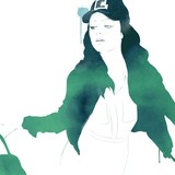 Fashion girl with hat. Watercolor painting with green in style. Girl with bag - 213837864