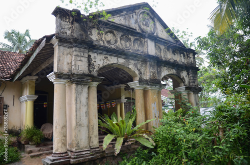 Aluthgama, Sri Lanka - May 04, 2018: Exterior view of the old house with columns Canvas Print