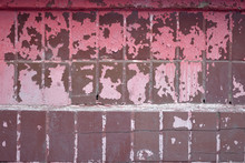 Shabby Old Red Wall Of Tiles