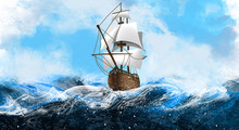 A Ship With White Sails On The Waves Of The Sea, The Ocean. Marine Background, Illustration Of A Ship. Discovery Of America By Columbus.