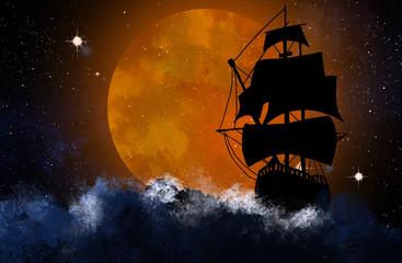 Sylwetka statku na tle nocnego gwiaździstego nieba i wielkiego księżyca