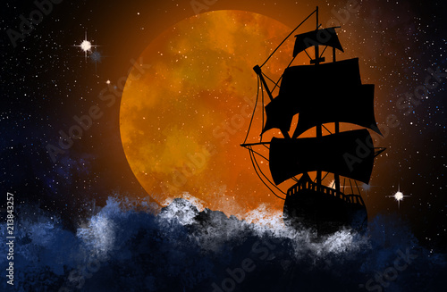 Poster Navire Silhouette of the ship against the background of the night starry sky and the big moon