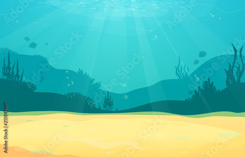 Poster Turquoise Underwater cartoon flat background with fish silhouette, sand, seaweed, coral. Ocean sea life, cute design