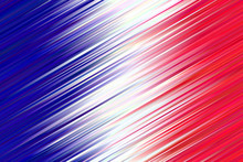French Flag Vector Background. Abstract Flag Of France Design With Blue White Red Vivid Gradient Stripes. Dynamic Diagonal Lines Texture. Hatching Strokes Surface.