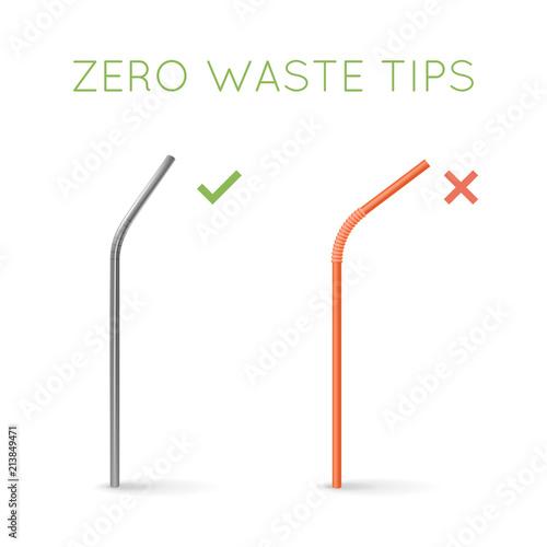 Stampa su Tela Reusable steel drinking straw instead of plastic straw