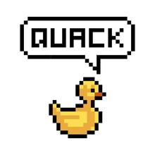 Pixel Yellow Duck Says Quack -...