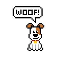 Pixel Dog Says Woof - Isolated...