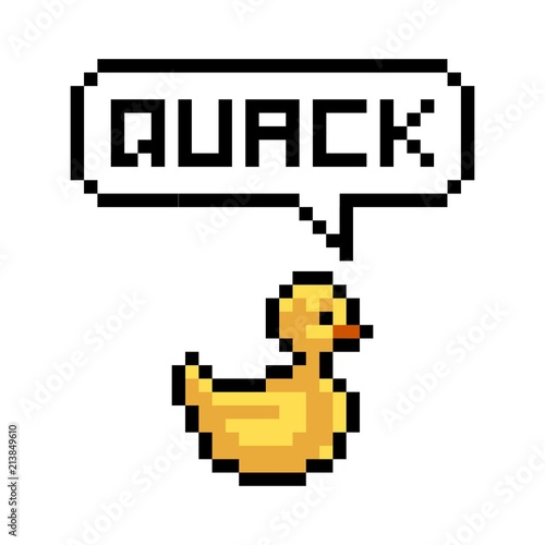Fotografie, Obraz  Pixel yellow duck says quack - isolated vector illustration