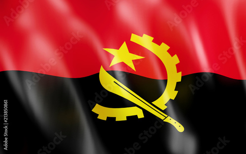 3D Flag of Angola. Wallpaper Mural