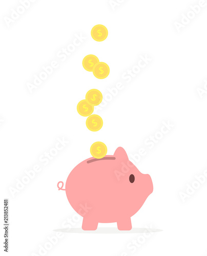Slika na platnu Pink pig or piggy bank with coins
